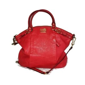 Coach red pebble leather large bag